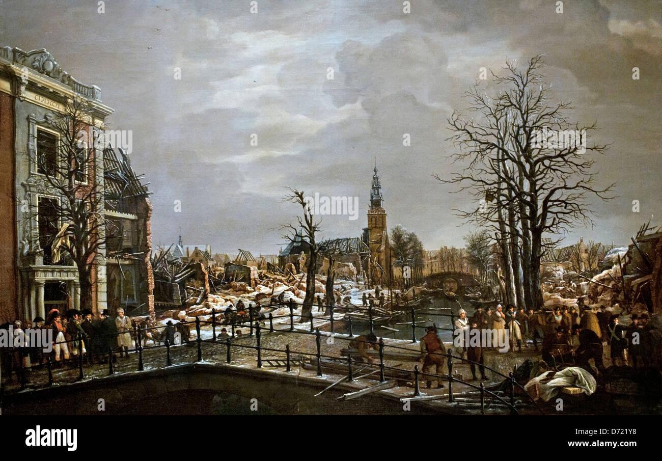 The Rapenburg in Leiden ( disaster explosion gunpowder ship ) Dutch Netherlands - Stock Image