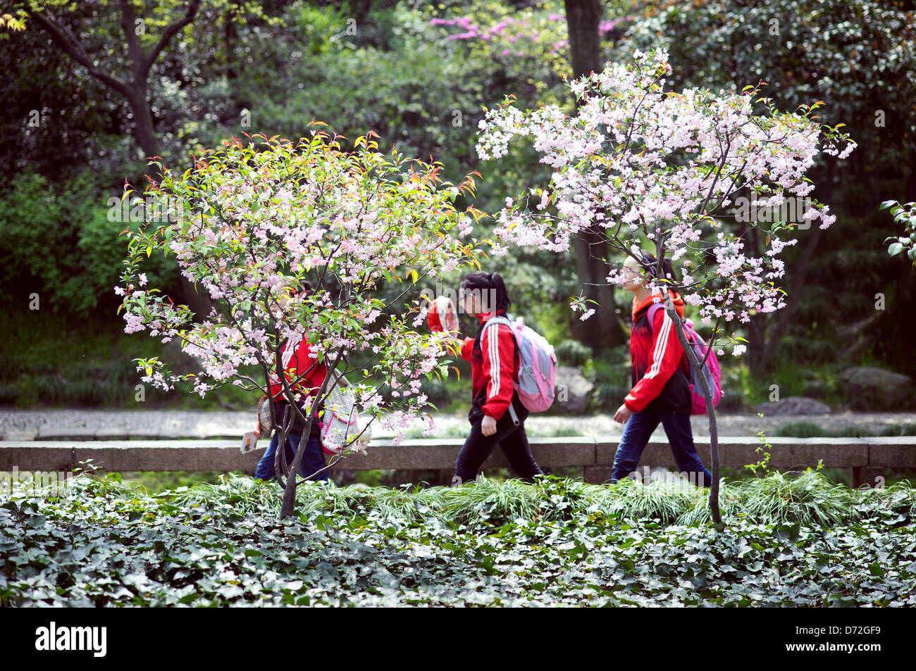 School children visiting the Humble Administrator's Garden, Suzhou, China - Stock Image