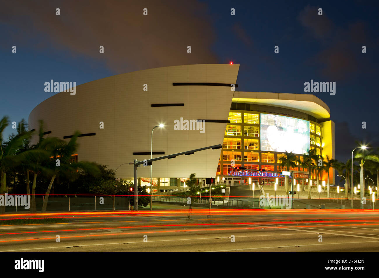 American Airlines Arena and light streaks, Miami, Florida USA - Stock Image