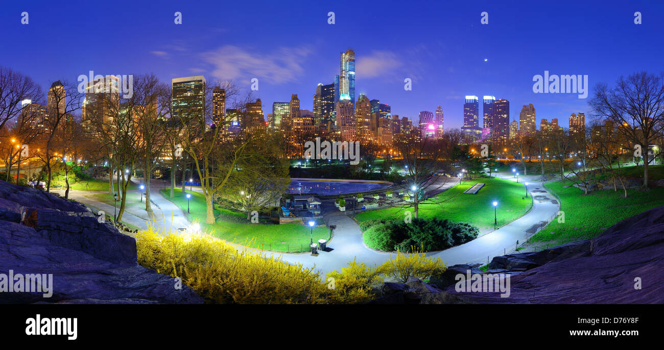 Central Park and cityscape of New York City - Stock Image