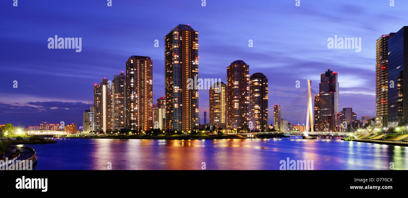 High rise residential apartments on Tsukushima in Tokyo, japan. - Stock Image