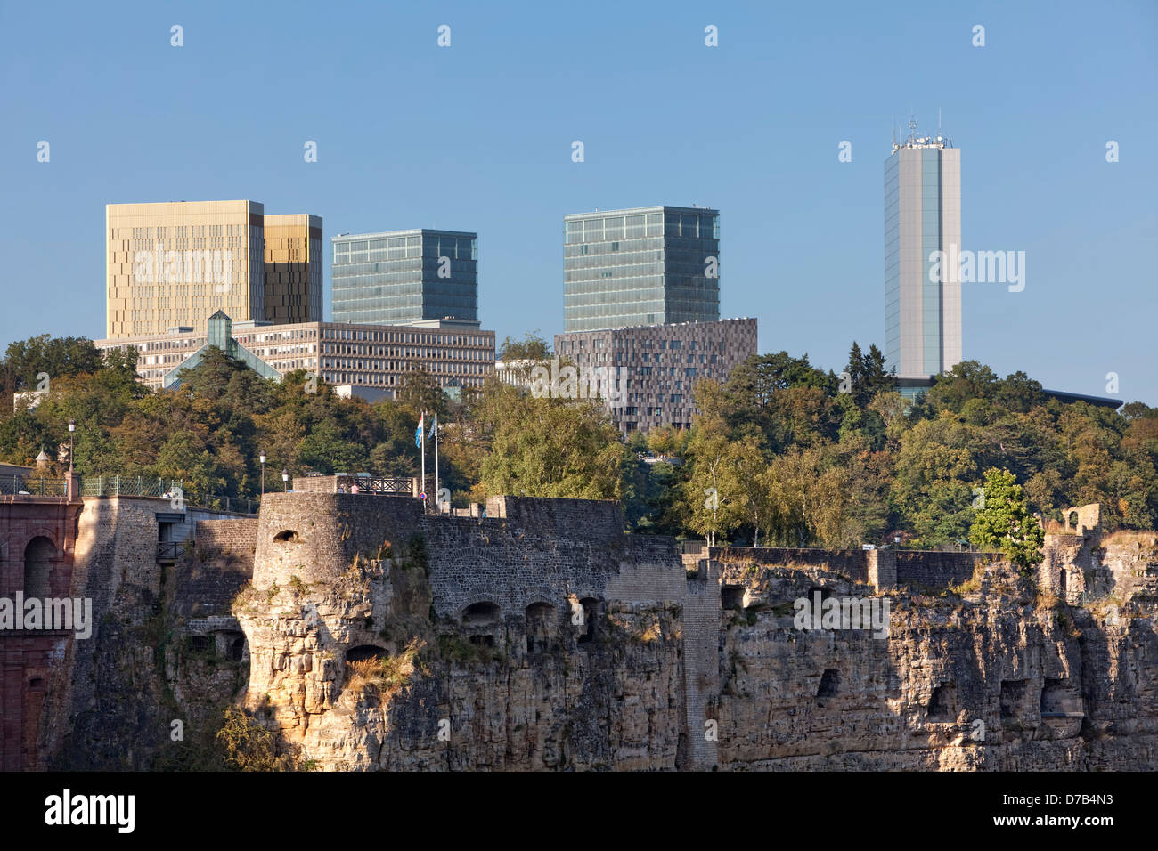 View of the EU buildings in the European quarter, Kirchberg-Plateau, Luxembourg City - Stock Image