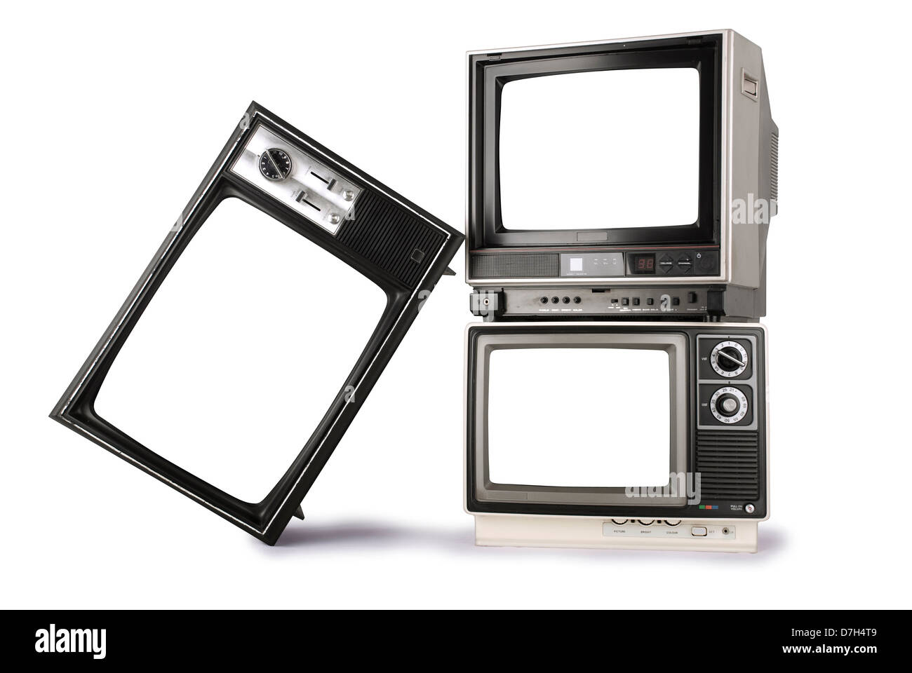 three stacked retro televisions with blank screens stock photo