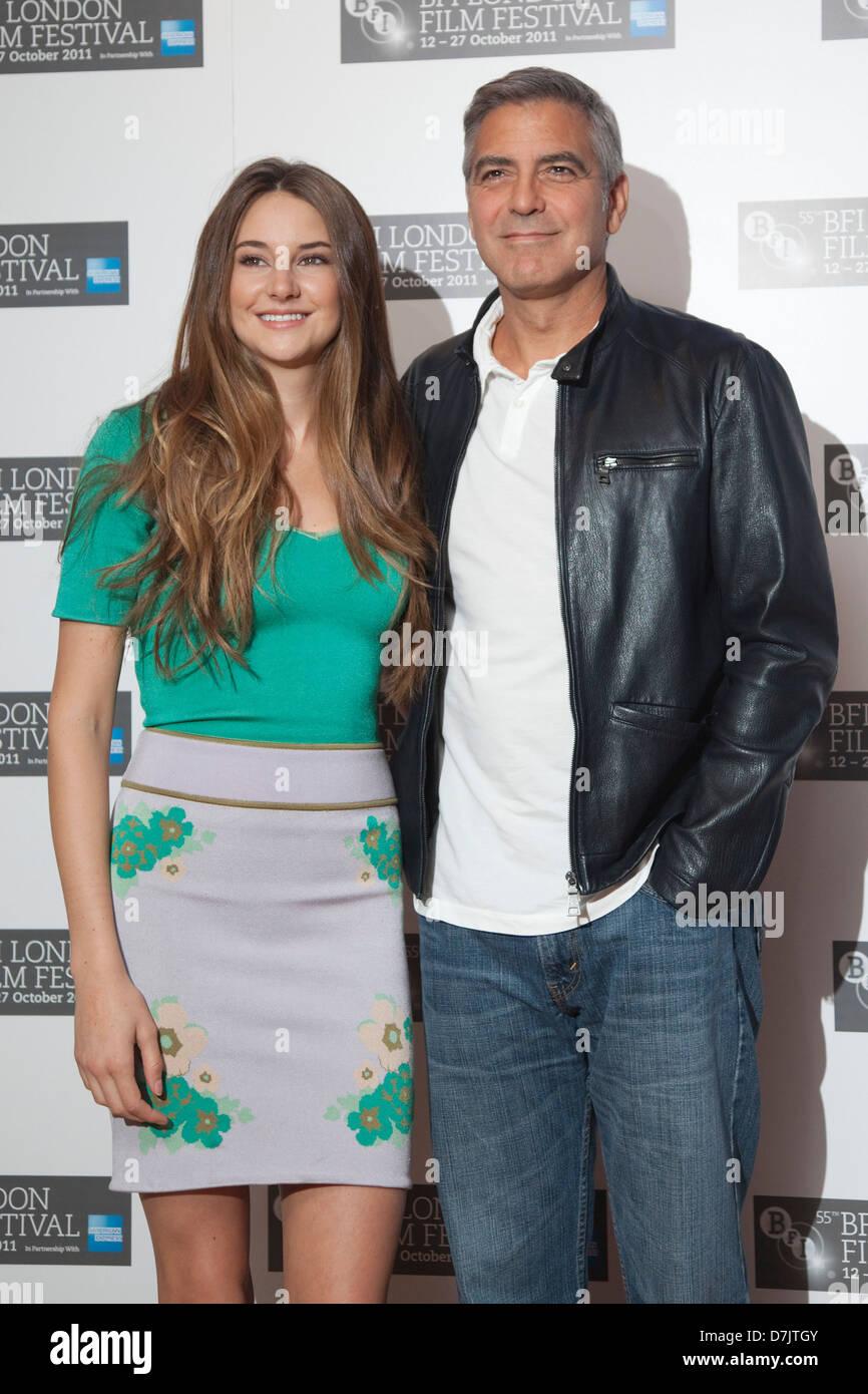 Shailene Woodley and George Clooney, The Descendants photocall, BFI London Film Festival - Stock Image
