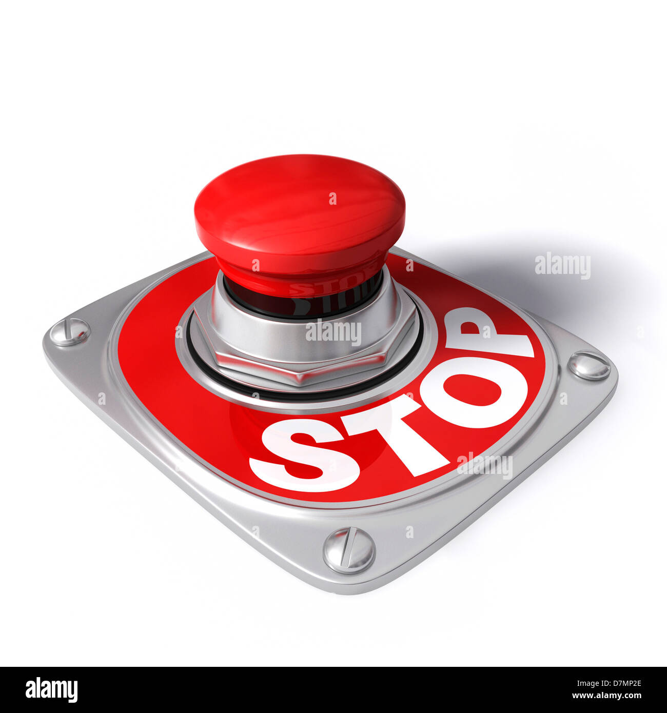 Stop button, artwork - Stock Image