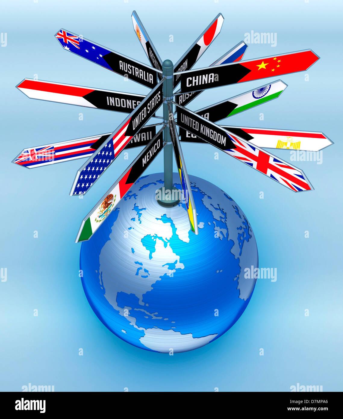 International travel, conceptual artwork - Stock Image