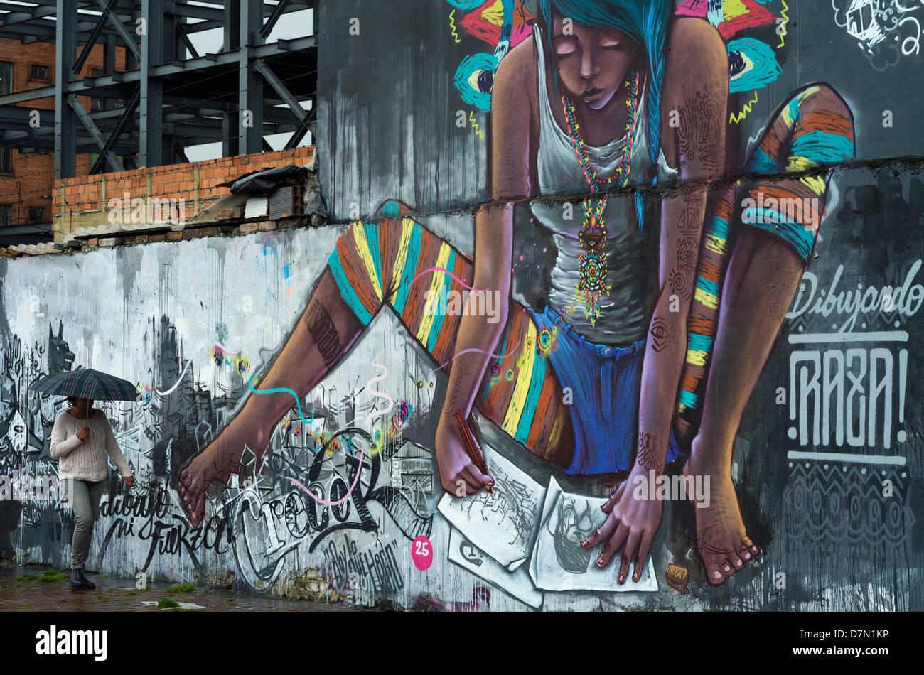Graffiti (mural), in the street in Bogota, Colombia. - Stock Image