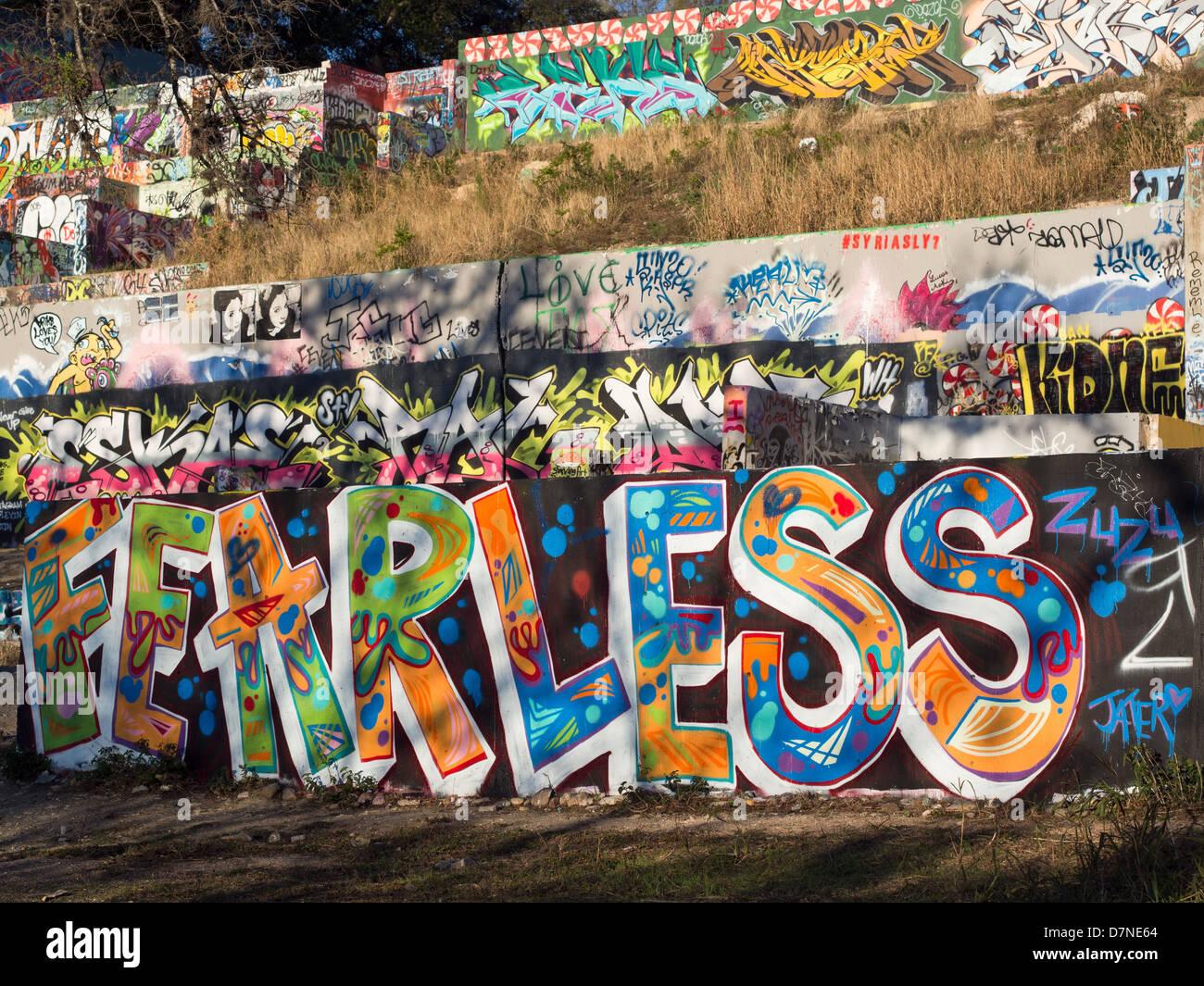 FEARLESS graffiti in Austin, Texas - Stock Image