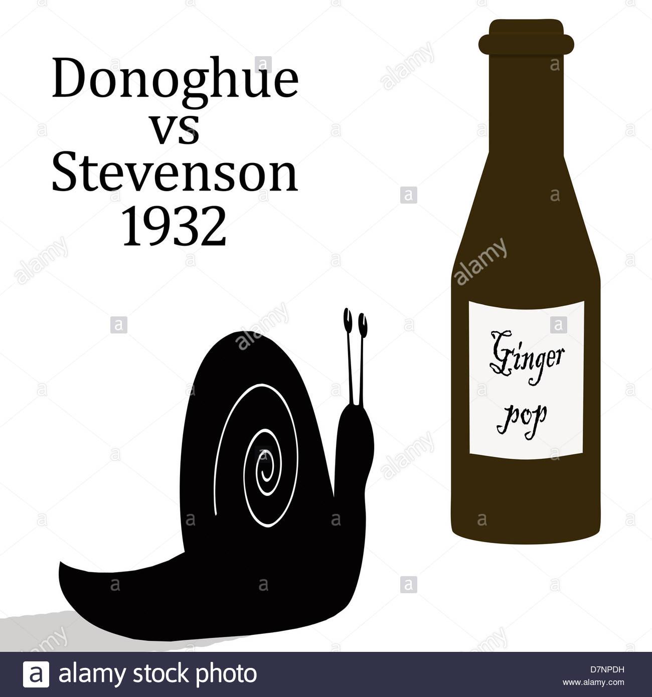 Digital Illustration - Donoghue v Stevenson [1932] A landmark case showing that manufacturers have a duty of care. Stock Photo