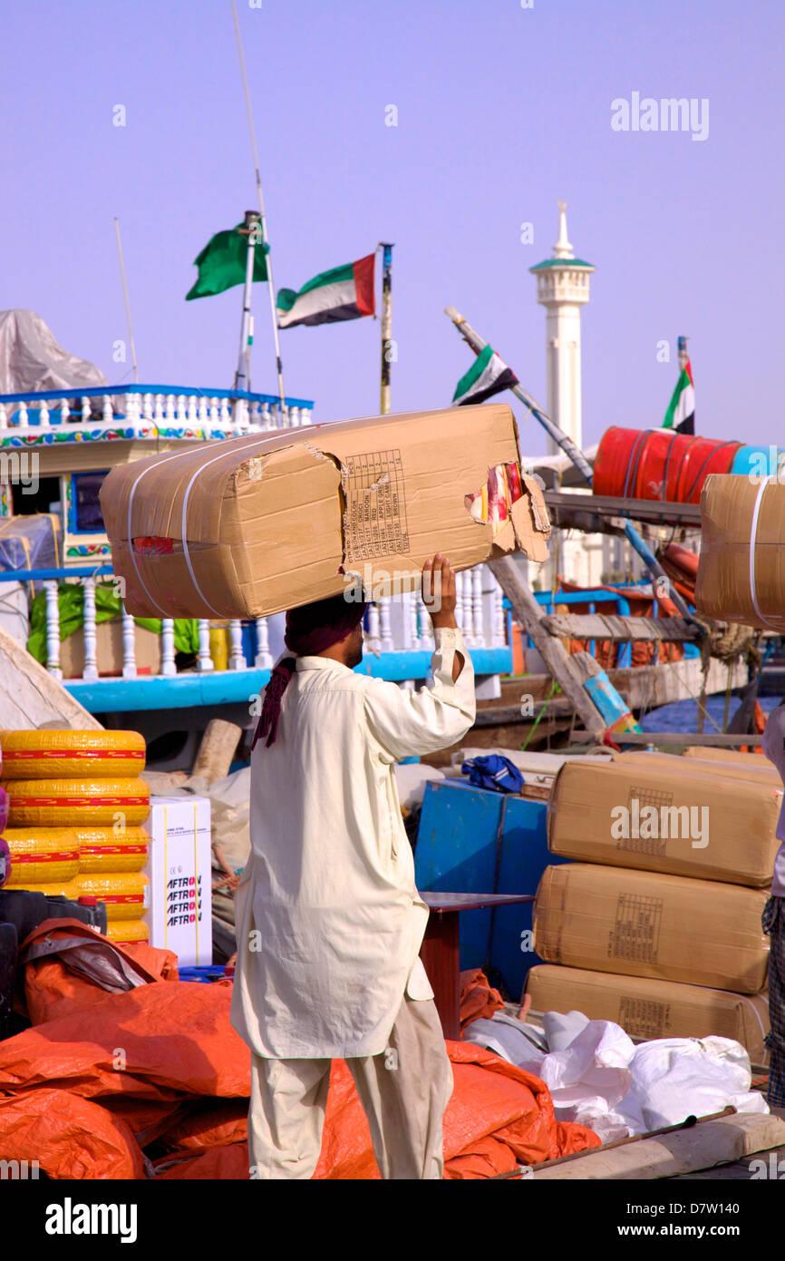 Shipping goods at Dubai Creek, Dubai, United Arab Emirates, Middle East - Stock Image