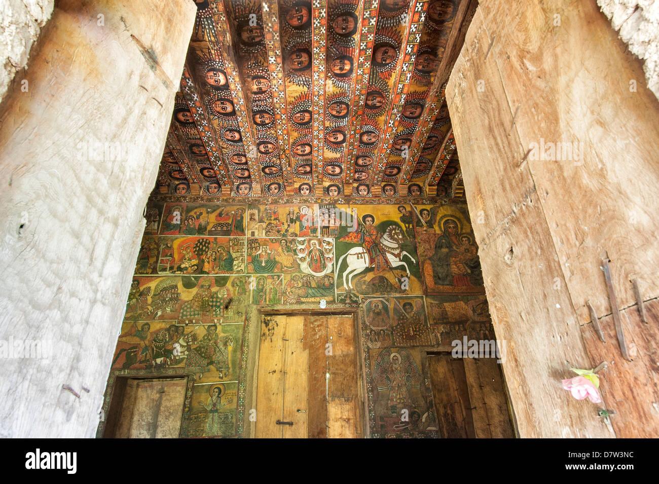 Ancient wall paintings inside the Debre Birhan Selassie Church, Gondar, Ethiopia - Stock Image