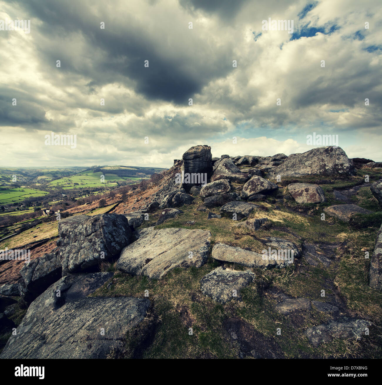 Curbar Edge, Derbyshire - Stock Image