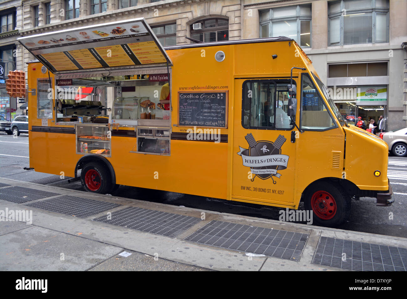 Wafles & Dinges, a food truck on Broadway in the Soho district of New York City Stock Photo