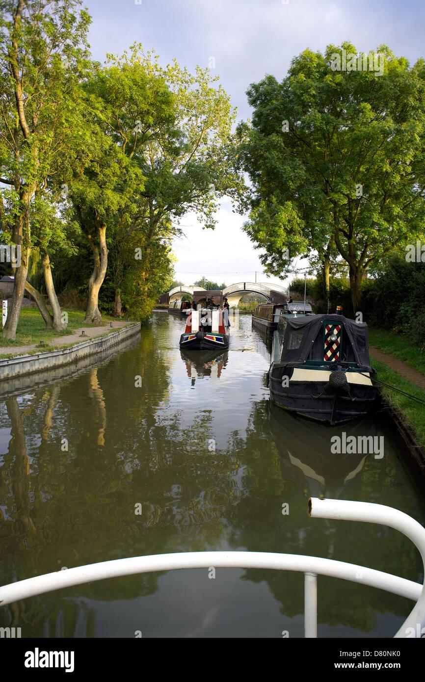 Boats on the Oxford Canal Braunston Northamptonshire Northants England UK GB narrowboat narrowboats cut English - Stock Image