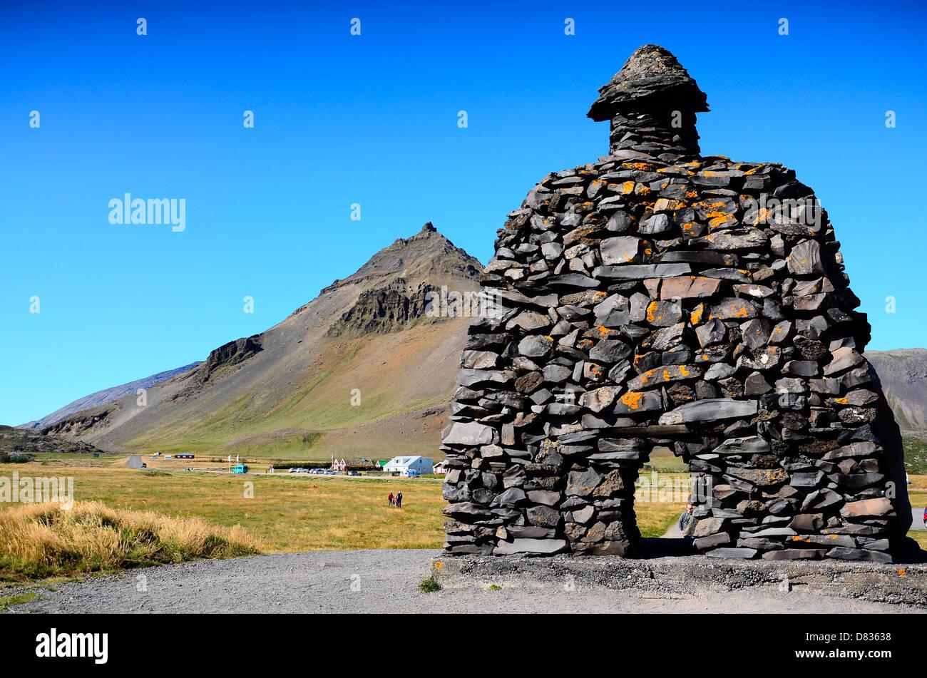 Bárðar Saga Snæfellsáss Statue at Arnarstapi, Iceland - Stock Image