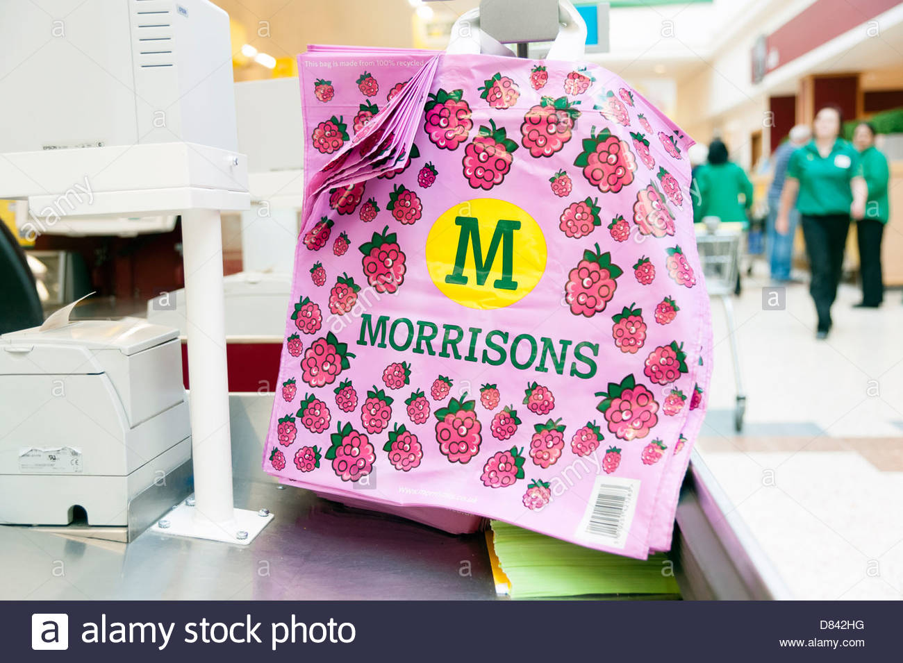 Re-useable bag in a Morrisons supermarket, UK. Stock Photo