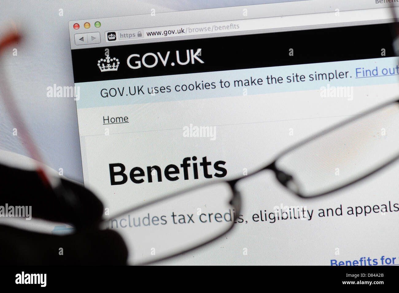 UK benefits website gov.uk Stock Photo