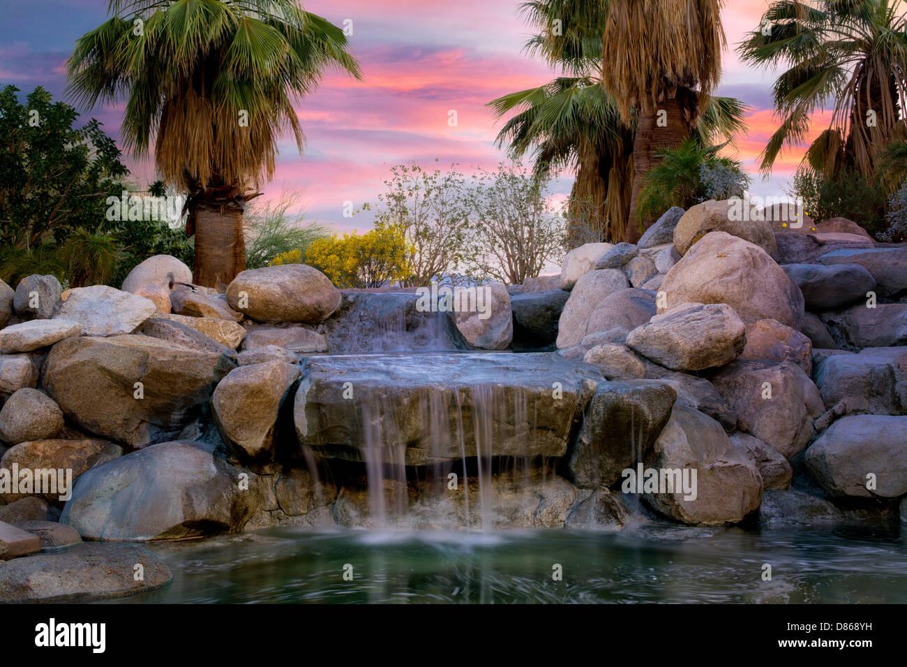 Waterfalls in Faye Sarkowsky Sculpture Garden. Palm Desert, California - Stock Image