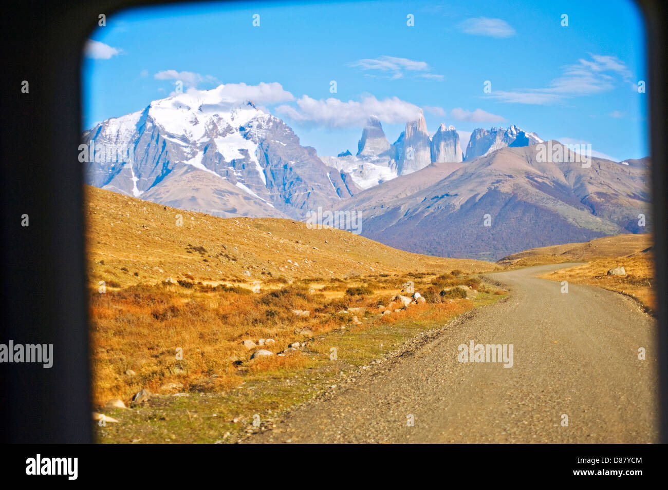 Torres del Paine National Park, Chile viewed from the back of a tour van - Stock Image