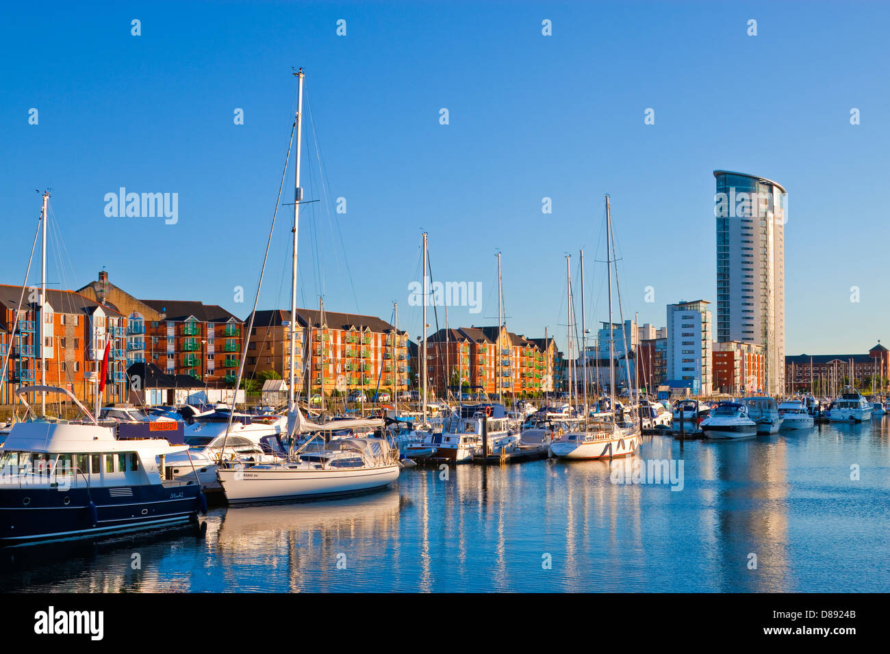 Swansea Maritime Quarter Swansea Marina Swansea Wales at twilight - Stock Image