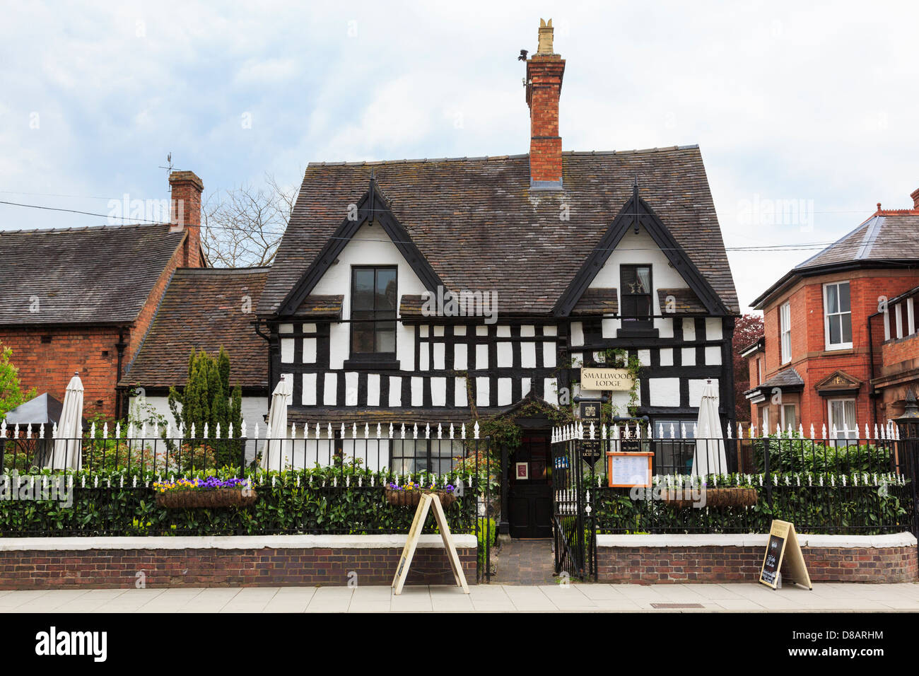 Smallwood Lodge licensed tearooms in a medieval timbered building in town centre of Newport, Shropshire, West Midlands, - Stock Image