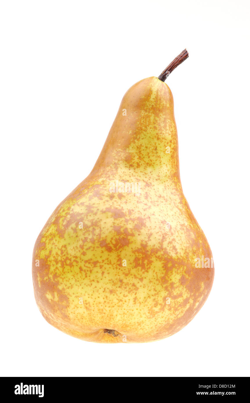 Yellow pear isolated on a white background - Stock Image
