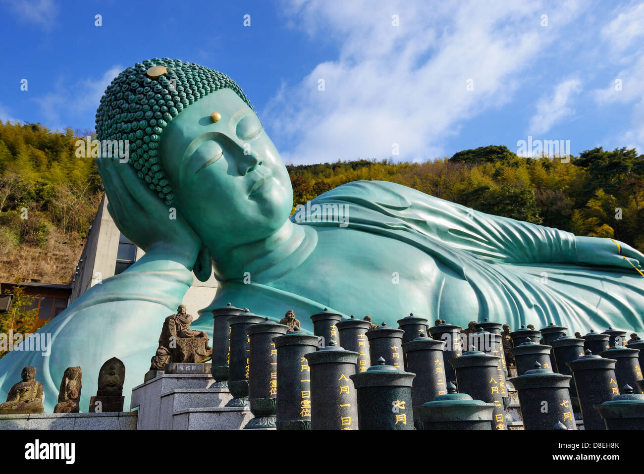 Reclining Buddha statue of Nanzoin Temple in Kyushu, Japan. - Stock Image