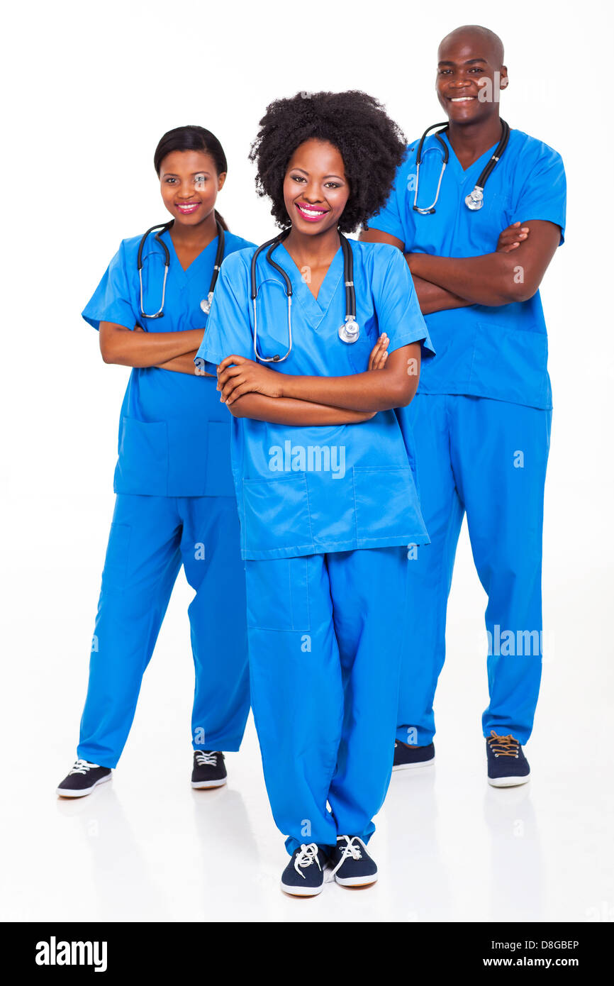 group of African hospital workers portrait on white - Stock Image