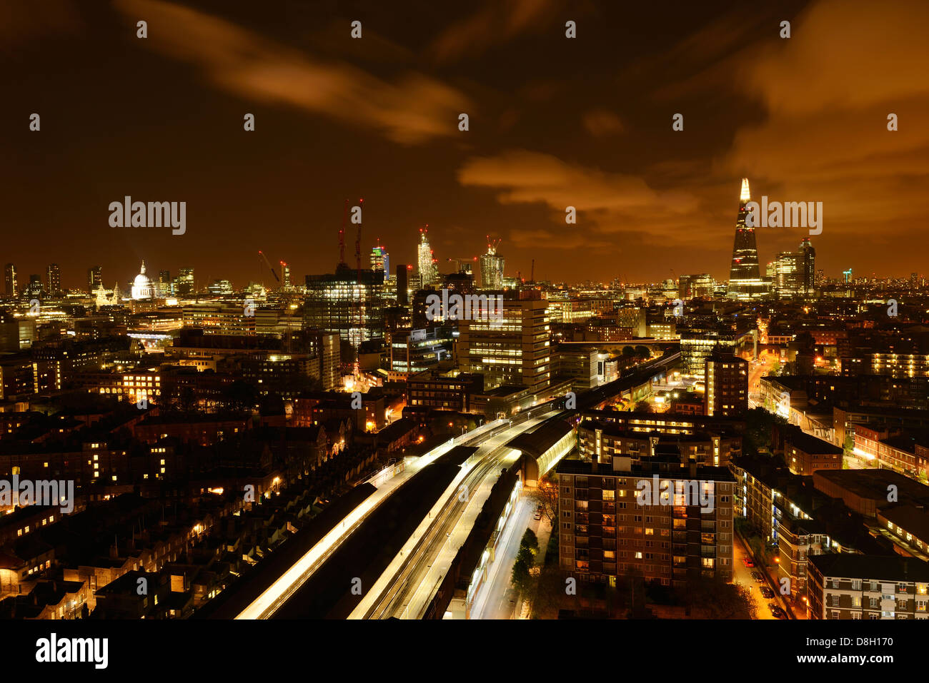 London Aerial Night View From Waterloo Station Towards the City. London, England, United Kingdom. - Stock Image