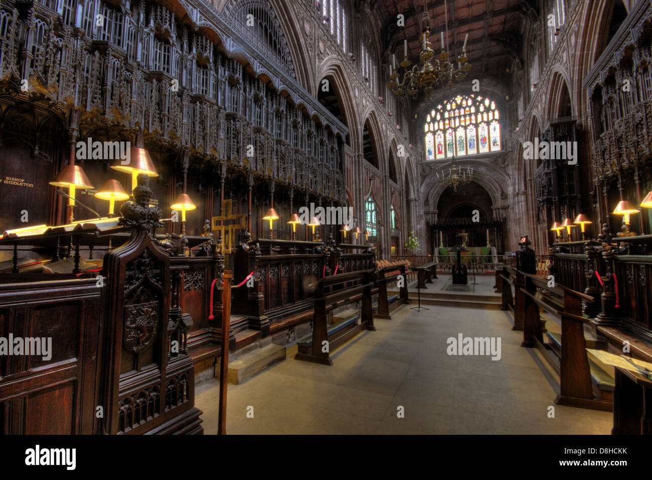 English,cathedrals,medieval,church,inside,choir,area,Collegiate,Church,of,St,Mary,Denys,and,Saint,George,city,centre,Victoria,James,Stanley,design,architecture,Perpendicular,Gothic,style,wooden,furnishings,including,the,pulpitum,stalls,Grade,I,listed,buildings,building,M31SX,M3,1SX,history,gotonysmith wide shot wideshot angle historic,Buy Pictures of,Buy Images Of