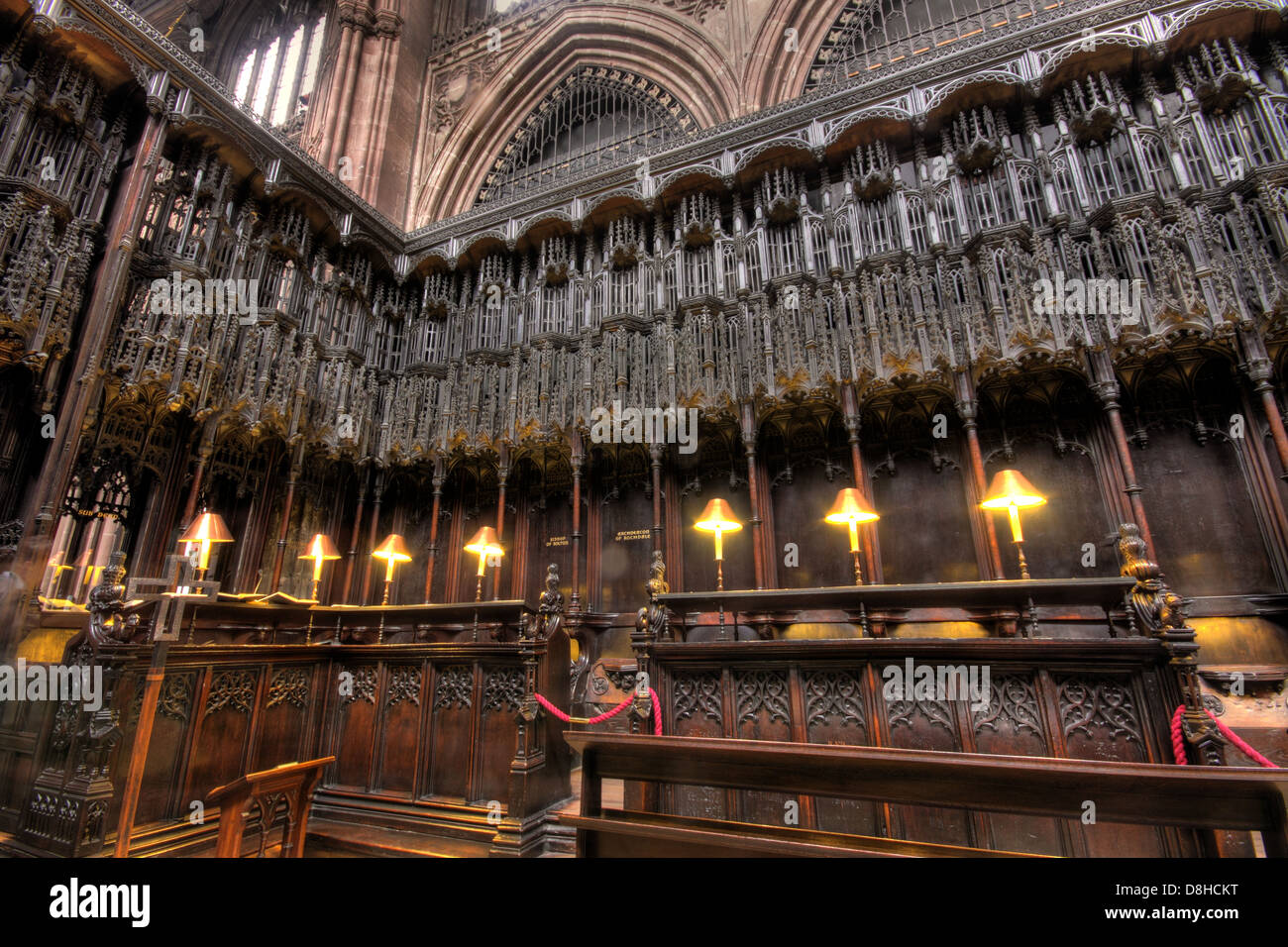 English,cathedrals,medieval,church,inside,choir,area,Collegiate,Church,of,St,Mary,Denys,and,Saint,George,city,centre,Victoria,James,Stanley,design,architecture,Perpendicular,Gothic,style,wooden,furnishings,including,the,pulpitum,stalls,Grade,I,listed,buildings,building,M31SX,M3,1SX,detail,historic,gotonysmith history,Buy Pictures of,Buy Images Of