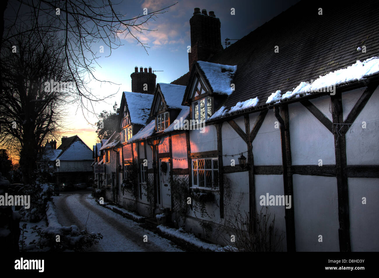 buildings,history,historic,villagescape,village,picturesque,in,Victorian,eyes,sunset,sun,set,rise,sunrise,sky,Grade,I,II,gradeI,gradeII,grade2,grade1,School,lane,ln,CW9,6HF,CW96HF,the,snow,winter 2010,Northwich,Cheshire,England,UK. These are listed cold weather ice blizzard,Gotonysmith,@hotpixuk,hotpixuk,village,villages,thatch,December,cold,icy,Xmas,Christmas,Buy Pictures of,Buy Images Of,English Villages