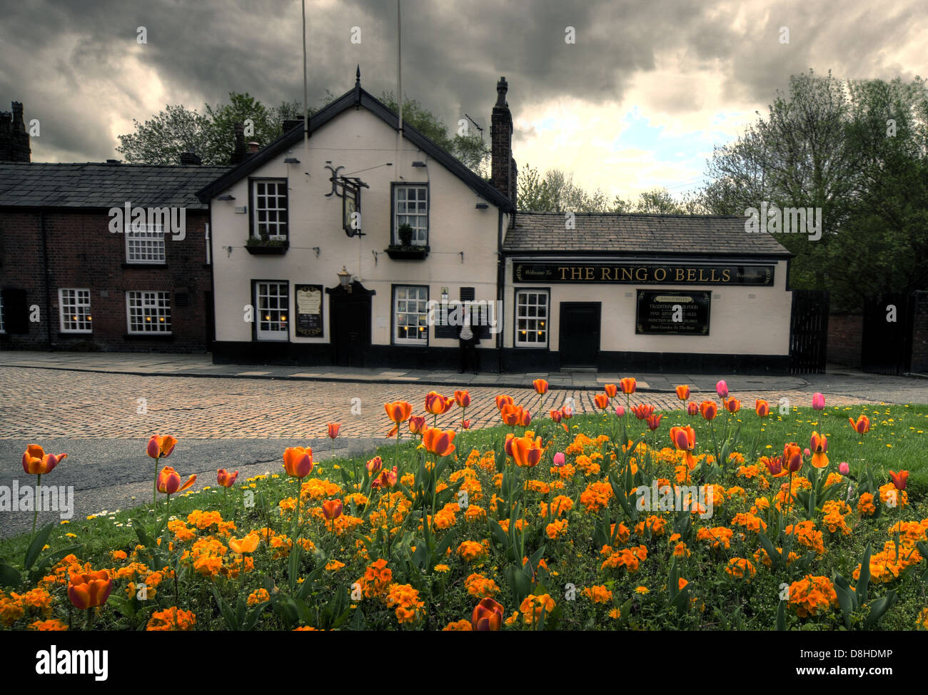 real,ale,CAMRA,bright,flowers,in,front,church,ringo'bells,UK,GB,Church,Street,Warrington,WA12TL,WA1,2TL,spring,dark,moody,sky,public,house,crawl,pubcrawl,around,cobbled,cul-de-sac,trust,inns,inn,traditional,town,centre,Adjacent,to,St,Elphins,Parish,Church,opposite,Sainsburys,Gotonysmith,Warringtonians,Buy Pictures of,Buy Images Of
