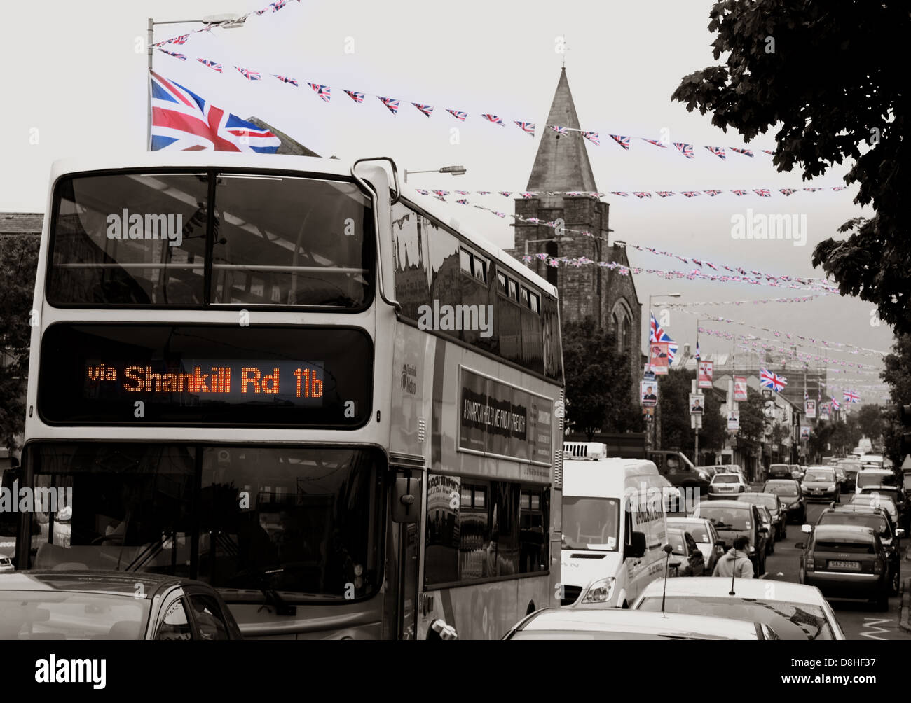 Ulsterbus,city,of,Belfast,sepia,flags,GB,british,union,jack,jacks,unionist,Britain,red,white,blue,DUP,Ulster,unionist,party,orange,man,orangeman,marching,day,July,orangemen,lodge,tradition,traditionalists,service,tour,road,traffic,congestion,cars,automobiles,automobile,history,historic,Ireland,rd,gotonysmith,fear,home,rule,homerule,nationalist,real,the,11b,via,gotonysmith,Buy Pictures of,Buy Images Of