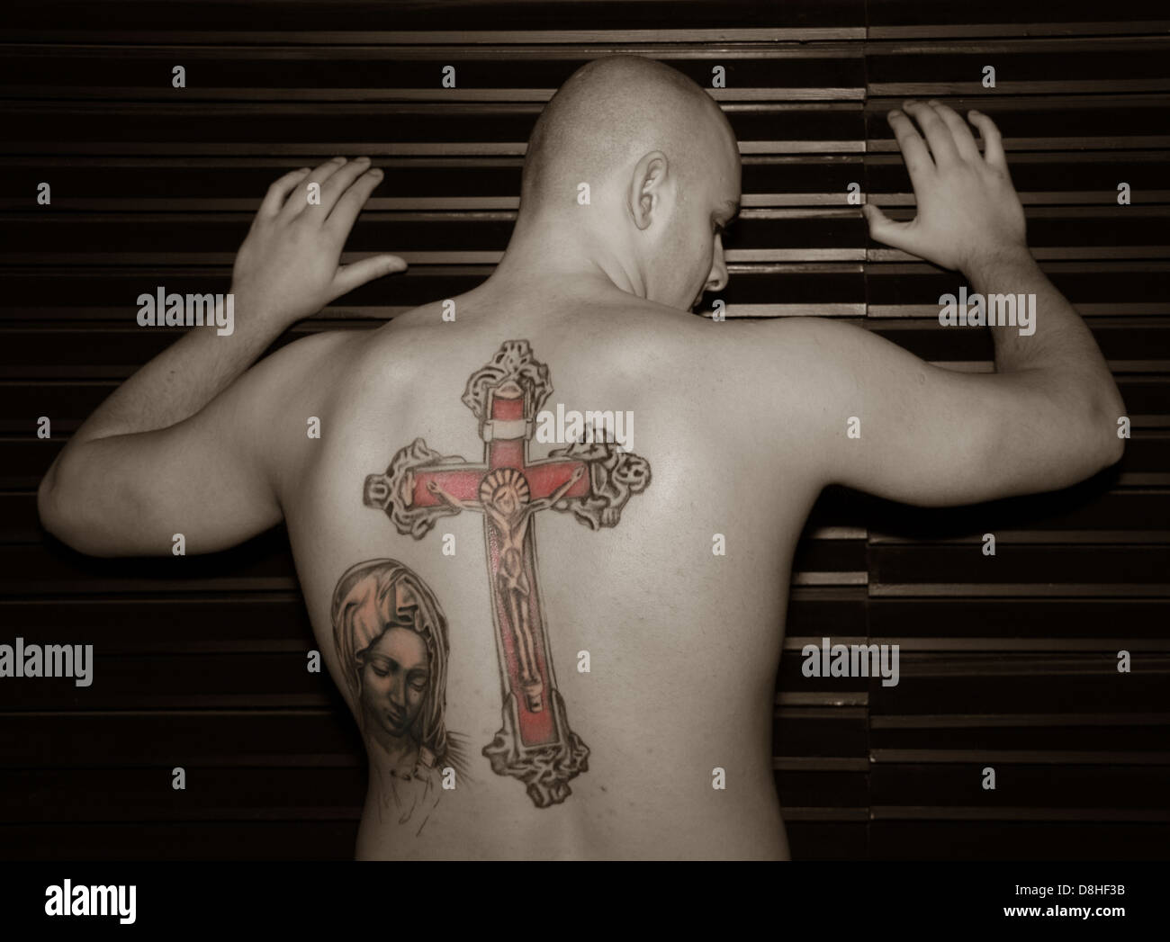 art,tat,tats,tat2,tatoo,religion,religious,catholic,sex,sexy,shaved,bald,head,headed,male,bloke,chap,against,up,wall,shutter,selective,selectively,colored,coloured,crucifixion,jesus,artwork,work,ink,skin,flesh,homoerotic,homo,erotic,sexual,in,the,boy,lokking,away,punished,being,ready,to,be,whipped,gotonysmith whip torture tortured,gotonysmith,Buy Pictures of,Buy Images Of