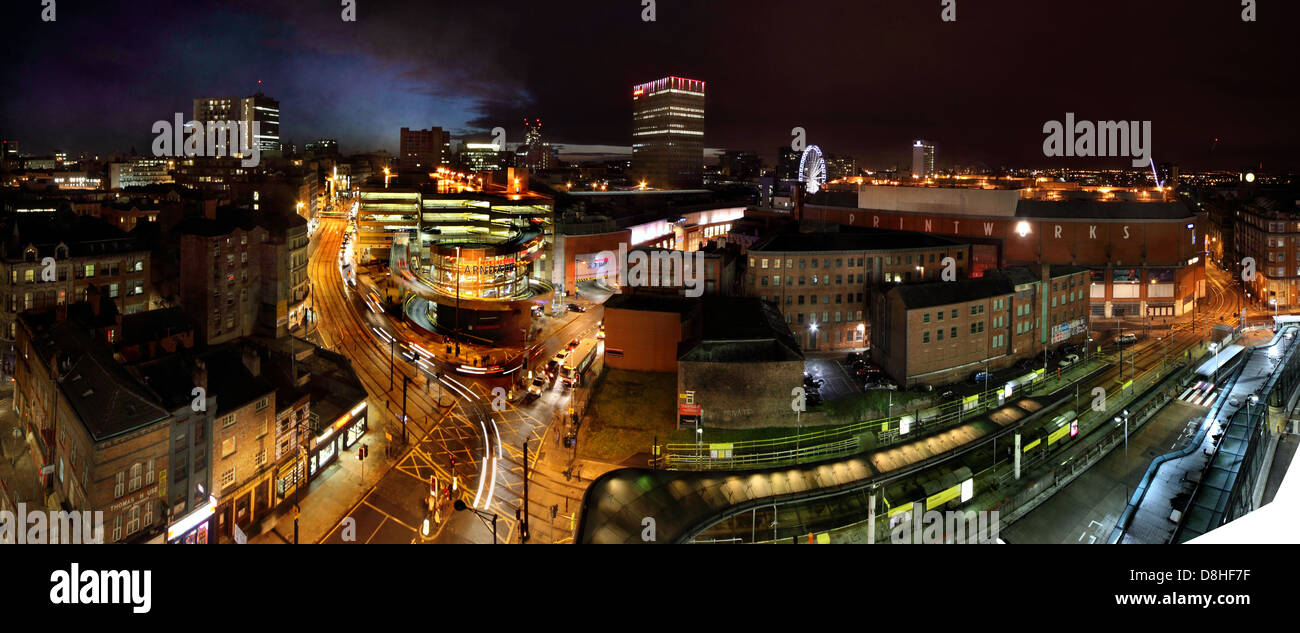Manchester,UK,dusk,night,panorama,looking,from,Shude,Hill,towards,market,street,and,Piccadilly,Gardens,gotonysmith,wide,image,long,arndale,centre,shopping,city,center,travel,shop,retail,business,bus,station,car,trails,lights,mixed,lighting,M4,4AA,M44AA,NQ,NQ4,Northern,Quarter,gotonysmith,Mancester,Buy Pictures of,Buy Images Of