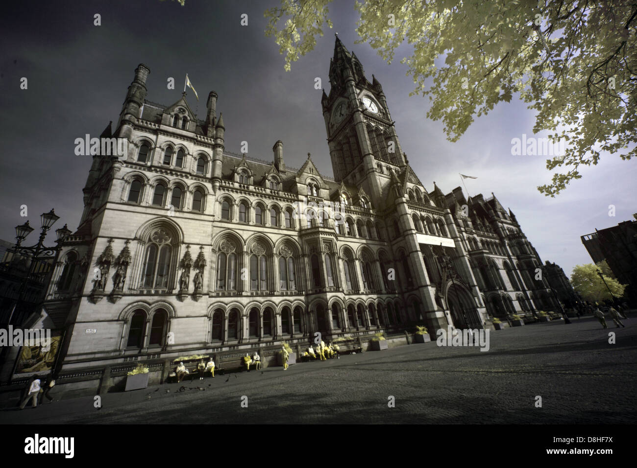 Manchester,gothic,town,hall,Albert,Square,Manchester,England,taken,with,an,IR,adapted,Canon,5D,DSLR,camera,infra-red,infra,red,720nm,720,nm,victorian,building,buildings,bright,foliage,wide,angle,M2,5DB,M25DB,revival,architecture,Alfred,Waterhouse,Neo-gothic,municipal,building,neogothic,gotonysmith,Manchester,city,council,corporation,HQ,headquarters,local,government,region,regional,gotonysmith,Mancester,Buy Pictures of,Buy Images Of