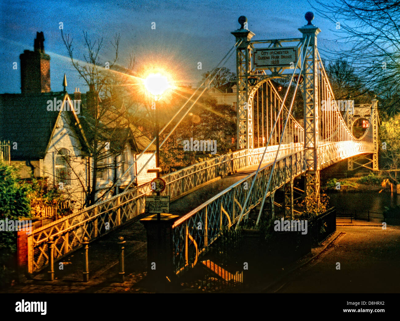Night,shot,nightshot,taken,at,night,foot,bridge,Die,Queens,Park,Fußgaengerbrücke,ueber,den,Fluss,Dee,in,Chester,Nordwestengland,iron,metal,cable,historic,history,cycle,path,cycleway,way,Chester,City,at,dusk,North West England,UK GB Great Britain bridges United Kingdom,Gotonysmith,City Centre,City,Centre,@hotpixUK,Buy Pictures of,Buy Images Of