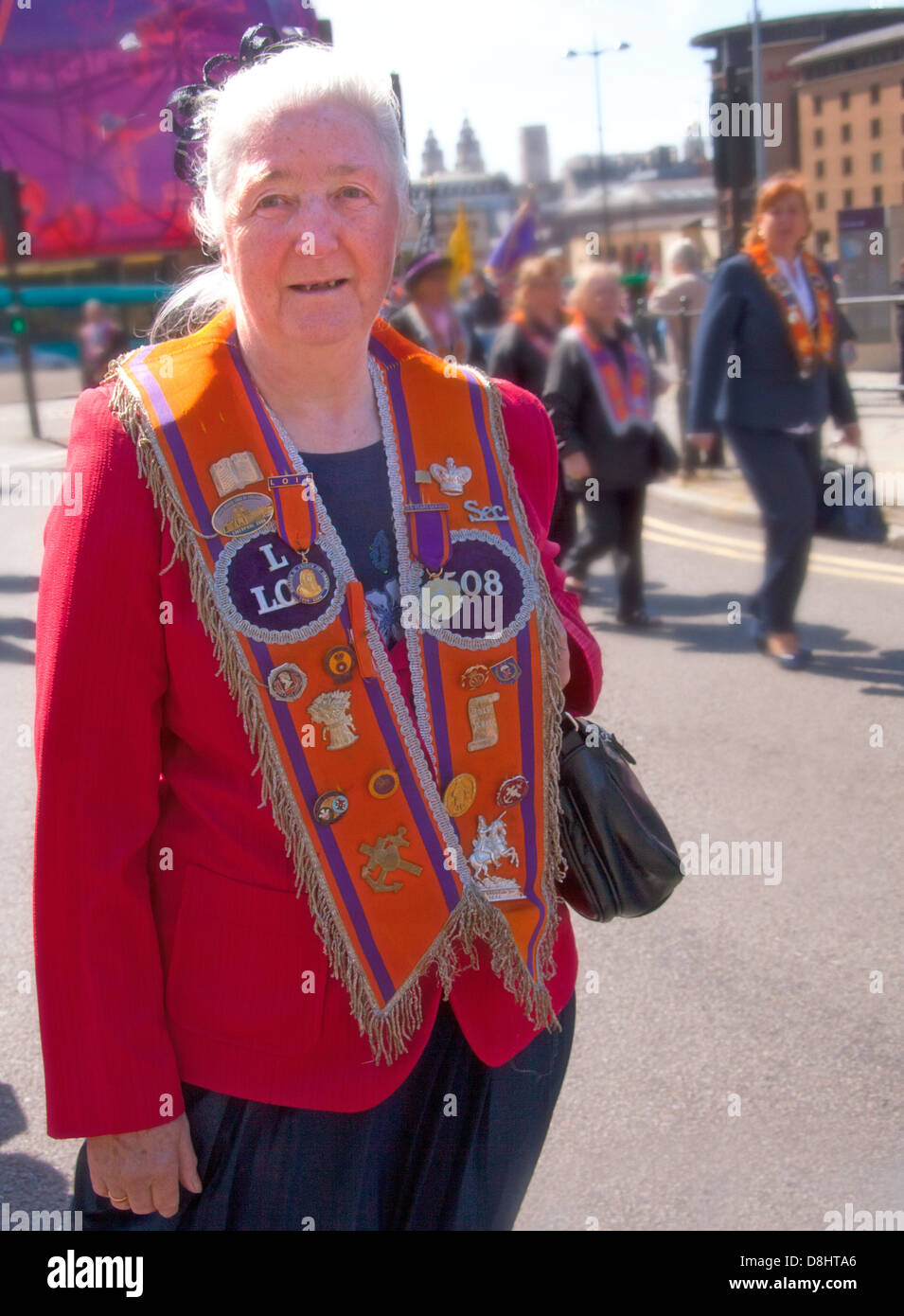 Sectarian,Orange,Order,May,2012,Proud,city,streets,parade,drums,Irish,heritage,battle,of,the,Boyne,St,Georges,hall,Lime,St,Street,streets,March,tension,old,fashioned,Royal,Lodge,LOL,woman,lady,grey,hair,old,older,season,Provincial,Grand,province,12th,12,tradition,prejeduce,prejudice,ignorance,Gotonysmith,Northern,Ireland,NI,troubles,future,peace,agreement,july,juniors,recruit,UDA,UDF,paramilitaries,terrorists,terrorist,Shankill,Belfast,lads,volunteer,volunteers,NO,SURRENDER,retired,people,L1,1JD,Loyal Orange Lodge,Buy Pictures of,Buy Images Of