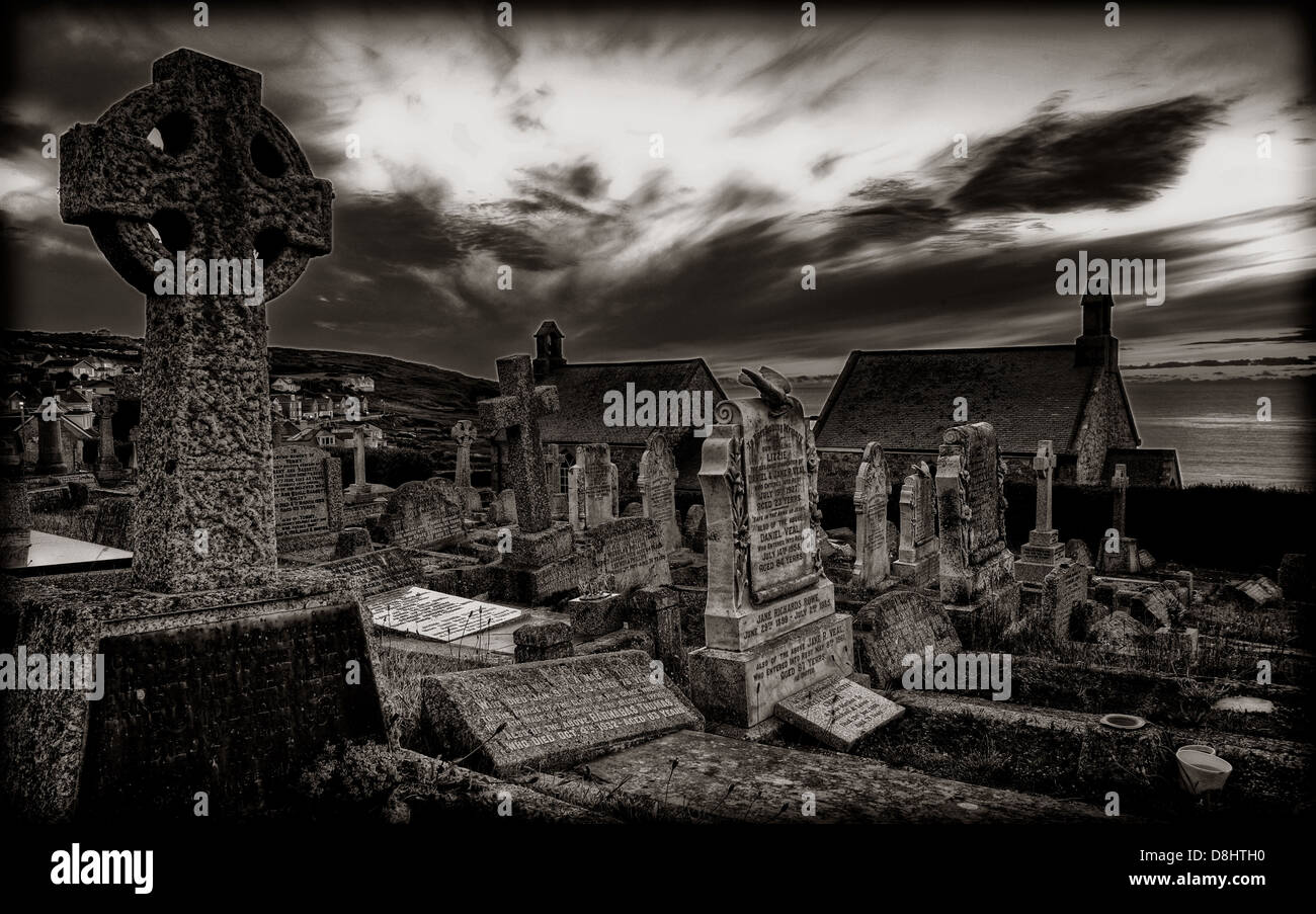 Barnoon Church and Graveyard,St,Ives,South,Cornwall,in,mono,England,United,Kingdom,Cemetery,Cemetary,view,of,the,sea,dramatic,cloud,clouds,atlantic,celtic,cross,goth,gothic,Cornish,Gotonysmith,Buy Pictures of,Buy Images Of
