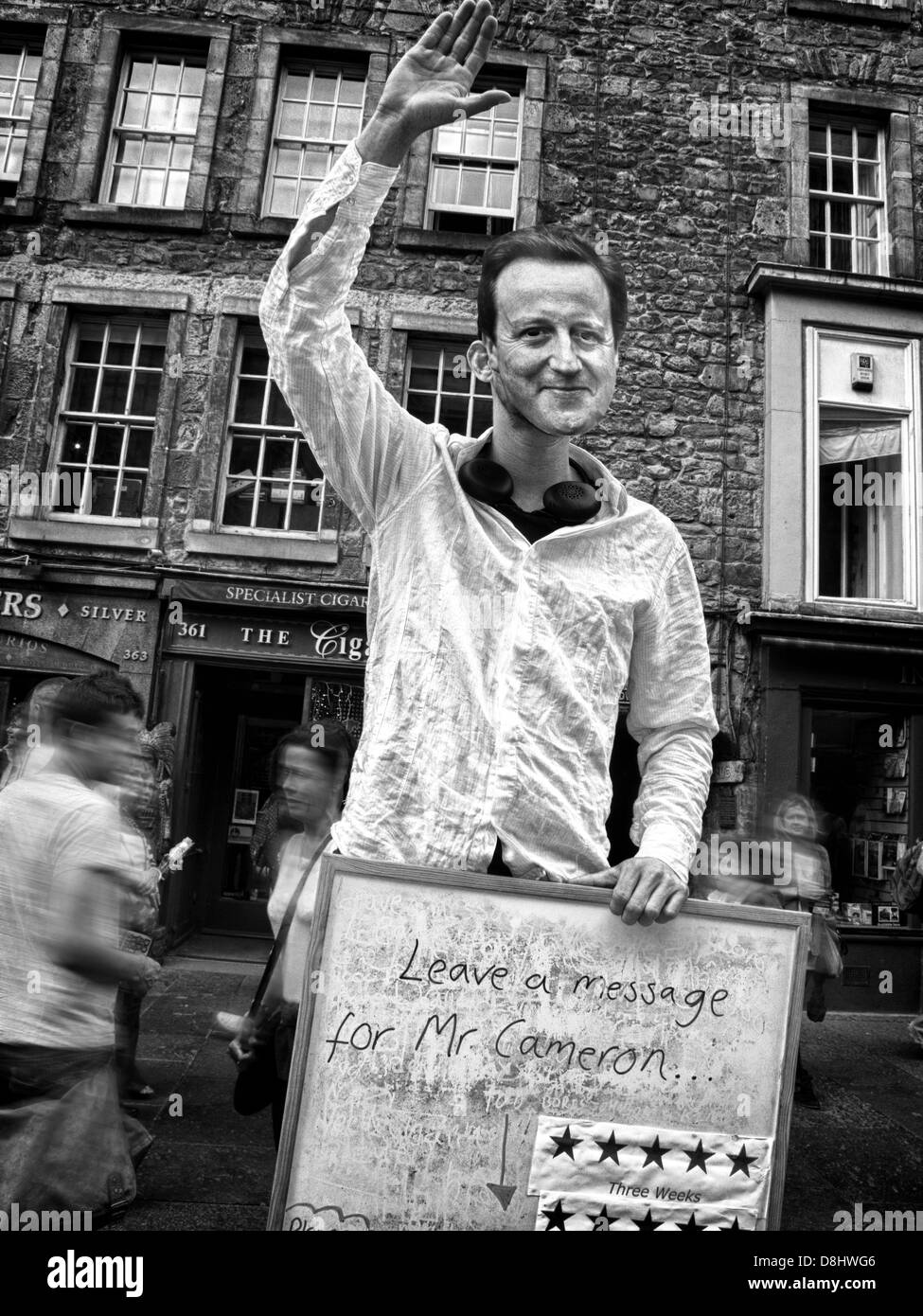 Dave,Cammeron,Cameroon,satire,at,the,August,Edinburgh,Festival,UK,mono,b/w,black,white,respected,not,hated,collation,Nick,Clegg,Cleg,cuts,austerity,crash,broken,promises,tory,leader,GB,great,british,witney,PM,Prime,Minister,politician,joke,jokes,joker,jokers,comedian,comedians,royal,mile,high,st,Gotonysmith,street,fringe,office,offices,parliament,Scotland,scots,Scottish,independence,hates,hater,of,Alex,Salmond,government,homerule,home,rule,SNP,gotonysmith,Buy Pictures of,Buy Images Of