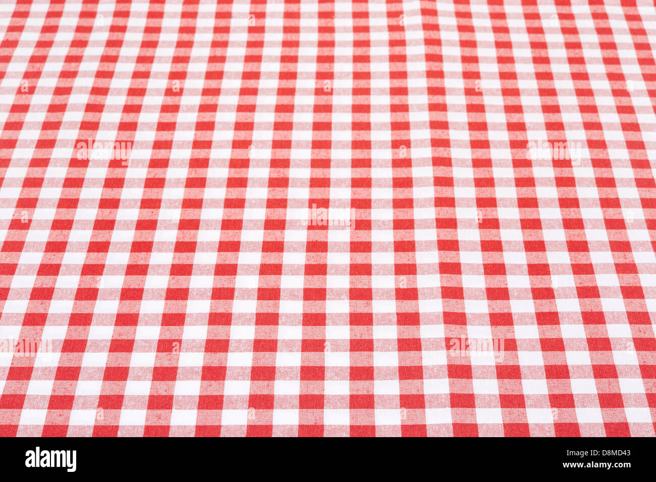 Red And White Gingham Tablecloth Texture Background In Perspective