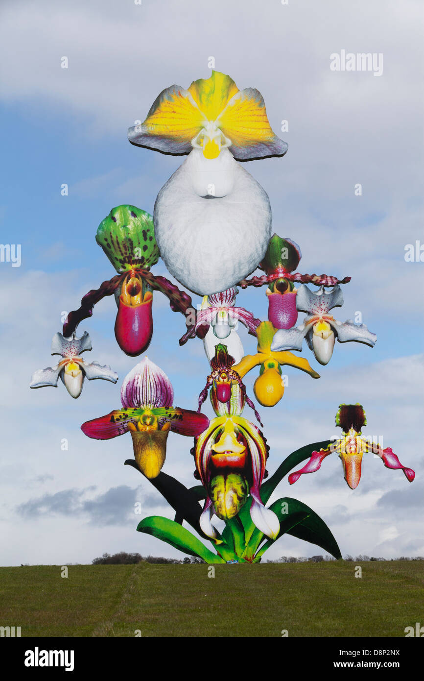 'Love Bomb', a  12-metre-high orchid sculpture by Marc Quinn at Jupiter Artland sculpture park near Edinburgh. - Stock Image