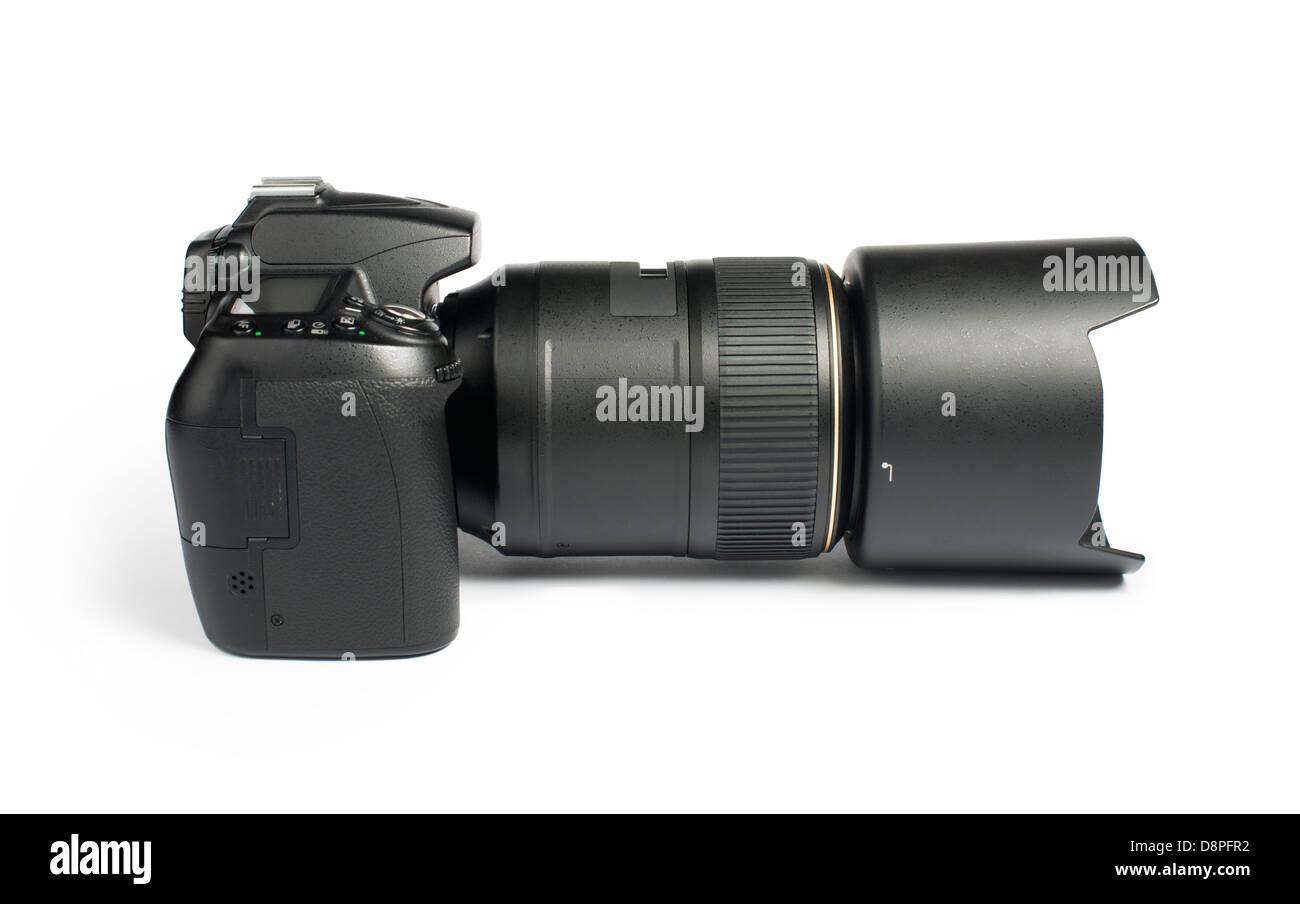 DSLR camera white isolated studio shot. - Stock Image