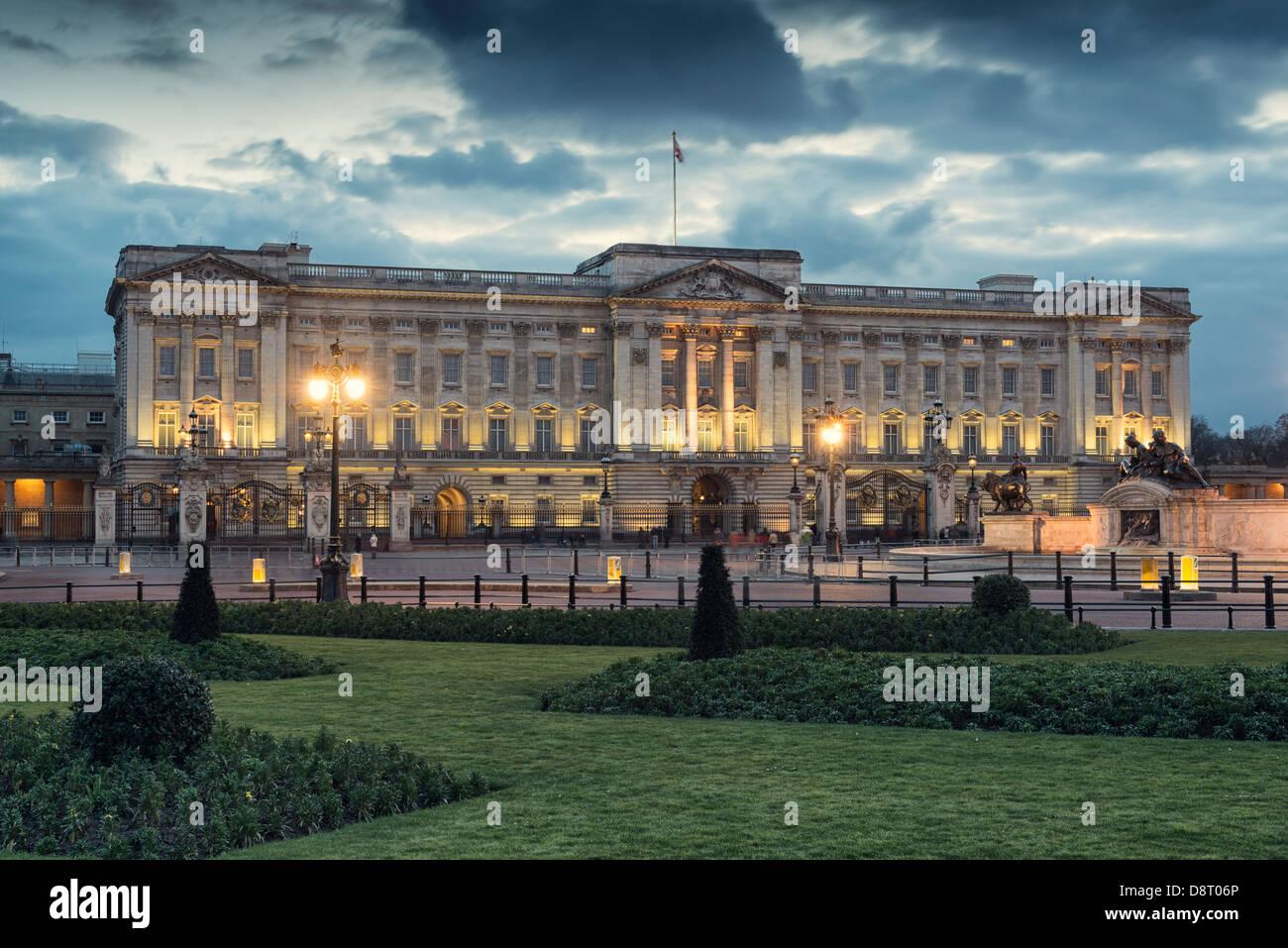 Buckingham Palace at night,London,England, - Stock Image