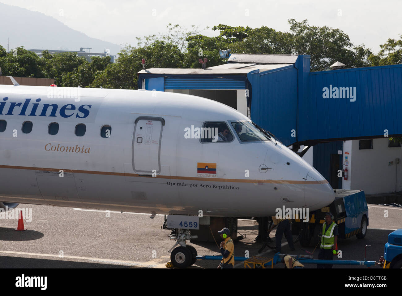 Copa Airlines Plane Taxiing at Santa Marta Airport, Colombia - Stock Image