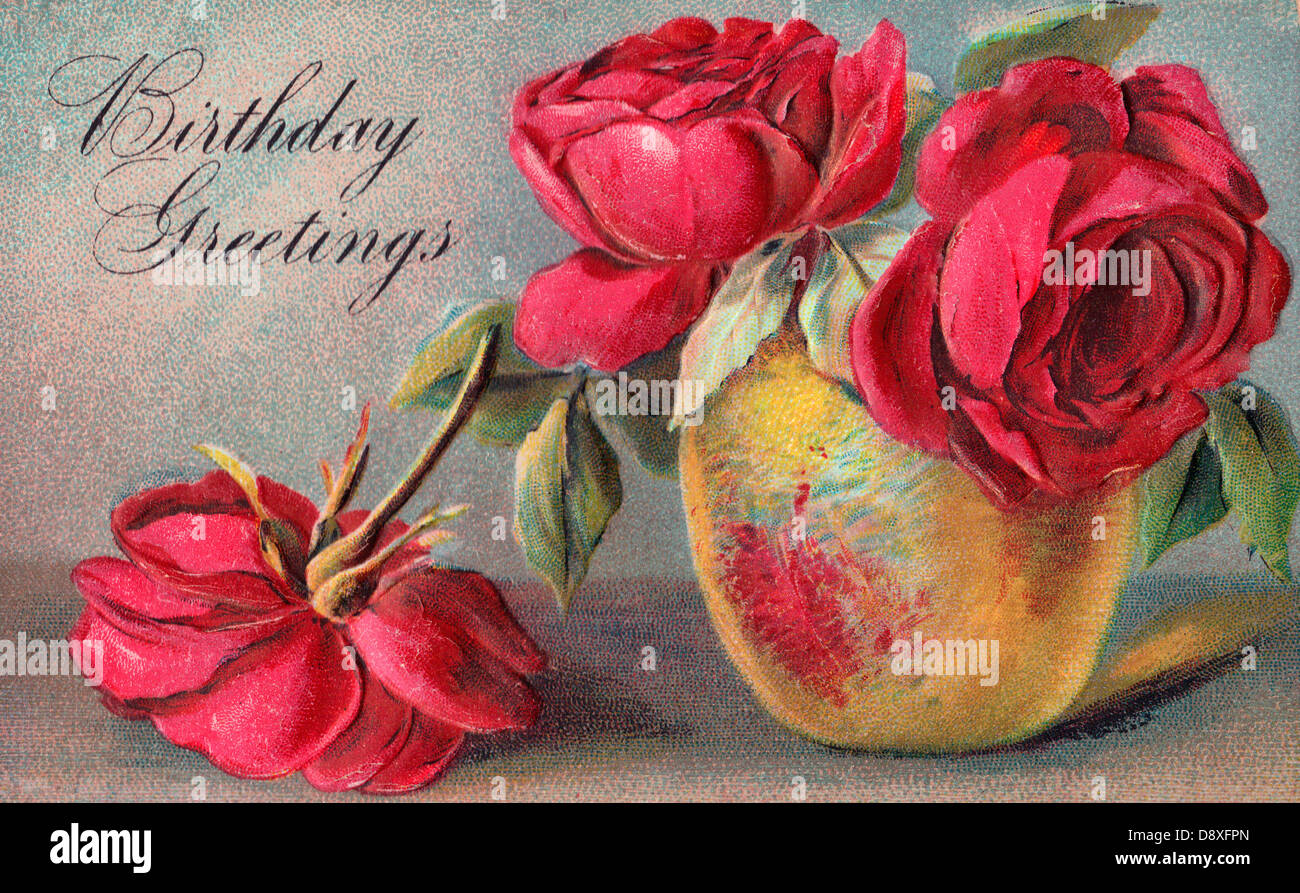 Birthday Greetings Vintage Card With Roses And Rustic Cup Stock