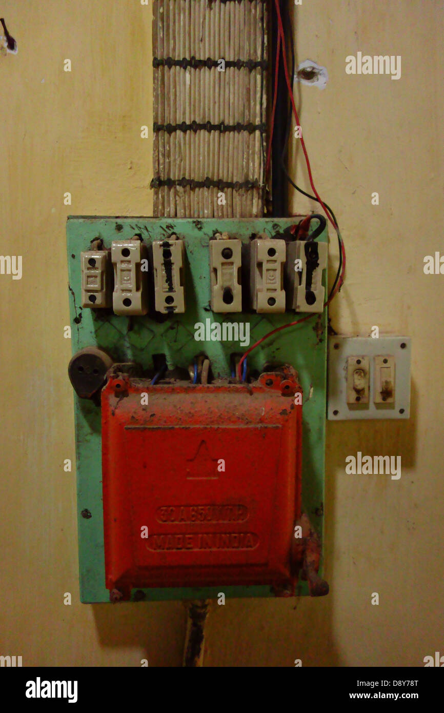 Red fuse box - Stock Image