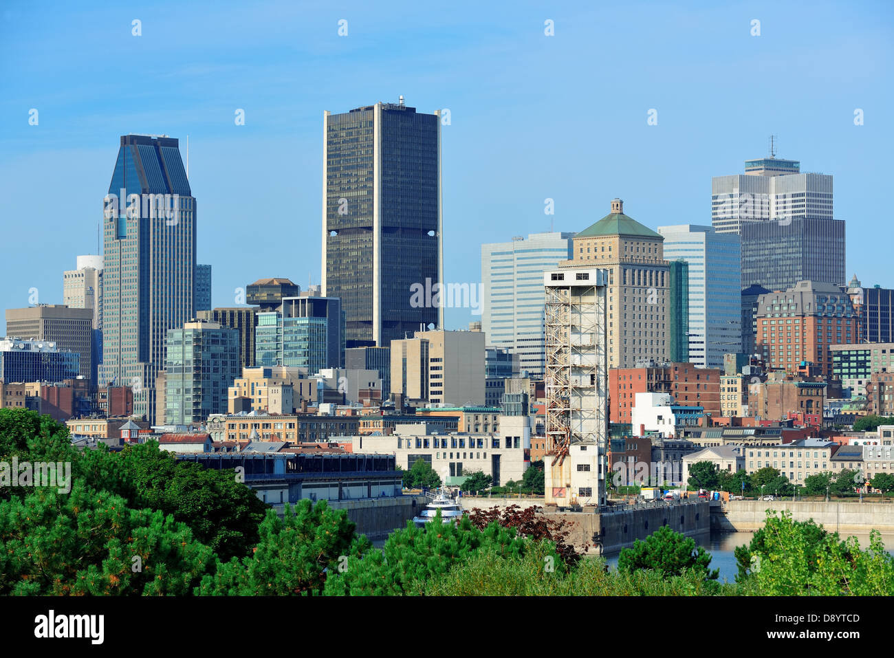 Montreal city skyline in the day with urban buildings - Stock Image