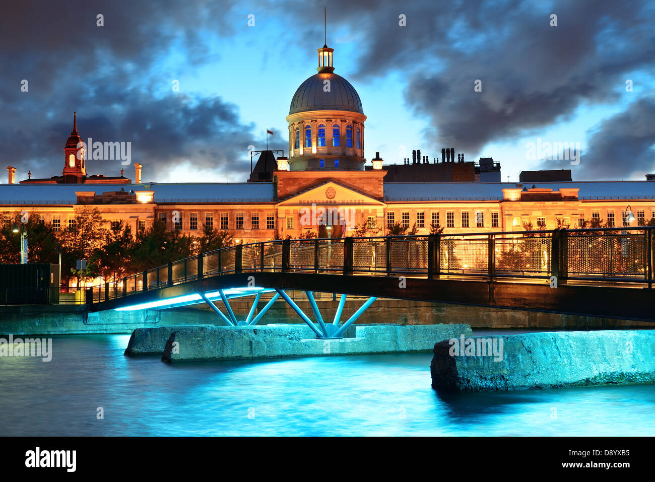 Old architecture at dusk on street in Old Montreal in Canada - Stock Image